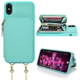LAMEEKU iPhone Xs Max Case, iPhone Xs Max Wallet Case, Zipper Leather Card Holder Case with Card Slot Wrist Strap Crossbody Chain, Protective Cover for iPhone Xs Max 6.5'' - Tiffany Blue