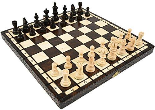 ポーランド製チェスセット:Olympia(オリンピア)ブラウン35cm×35cm 木製 chess チェス盤チェス駒セット