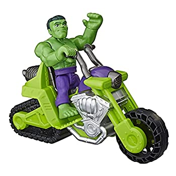 Super Hero Adventures Playskool Heroes Marvel Hulk Smash Tank 5-Inch Figure and Motorcycle Set Toys for Kids Ages 3 and Up