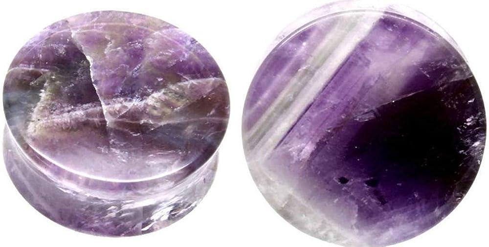 So Regular dealer Scene Purple Amethyst Organic Plugs Outstanding 25mm-1 Ear Stone Gauges