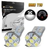 Partsam 2pcs White LED License Plate Lights Car LED Bulbs T10 194 168 Wedge 12V