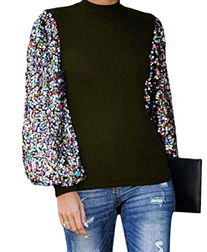 Women's Puff Sleeve Mock Shiny Sequin Top Blouse T-shirts