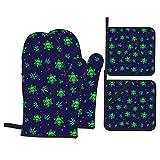 Green Weed Plant Snow Skulls Manoplas para Horno y Soportes para ollas Juegos de 4 Almohadillas Calientes Resistentes con Guantes de poliéster Antideslizantes para Barbacoa para Cocina, Cocina