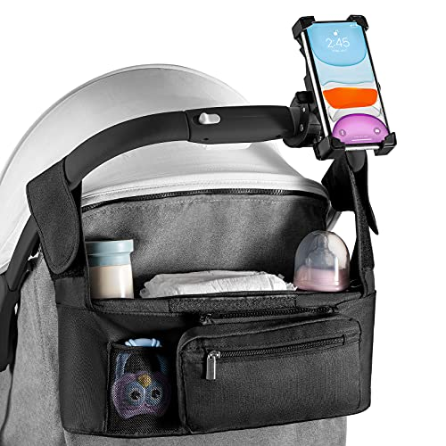 Universal Stroller Organizer Accessories with Insulated Stroller Cup Holder,Phone Holder For Stroller,Fits for Stroller like Uppababy, Baby Jogger, Britax, Bugaboo, BOB, Umbrella and Pet Stroller