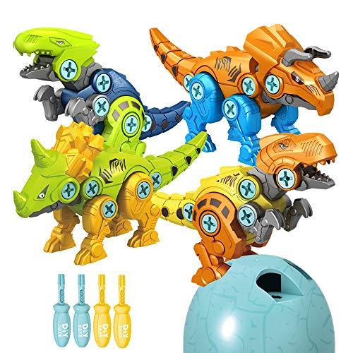 Rtudan Take Apart Dinosaur Toys for Kids-4 Pack Large Easter Eggs Build Dinosaur Kit Dinosaur Take Apart Toys Set Toys for 3-5 Year Old Boy Gift
