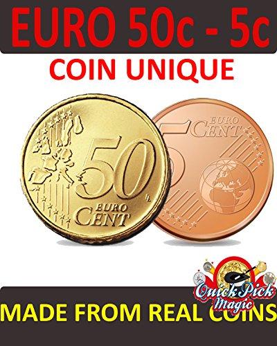 QUICK PICK MAGIC Euro Moneda Única / 50c - 5c Euro Moneda Única MAGNÉTICO VERSIÓN Vanishing 5c Euro