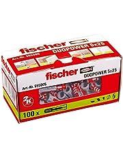 Fischer Duopower 5 x 25 universele pluggen voor het bevestigen van hangkasten, wandrekken in beton, metselwerk, plaatbouwmaterialen enz. -100 stuks. Nr. 555005, grijs/rood