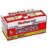 fischer 555005 DUOPOWER Cheville courante, Gris/Rouge, 5 x 25