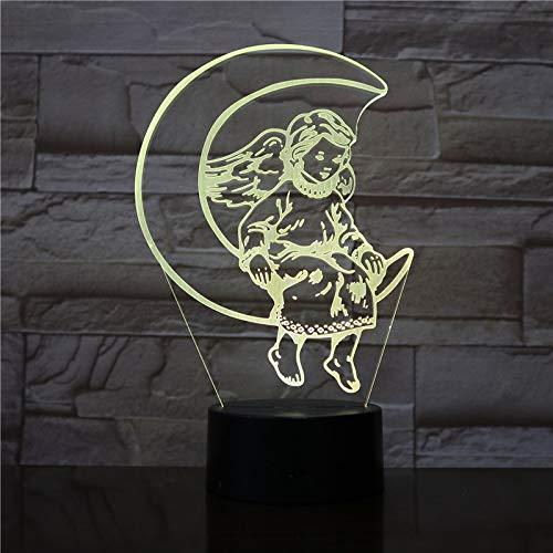 Sanzangtang Led-nachtlampje, 3D-visionzeven, kleurenafstandsbediening, maanengel, leuk lunchtmeisje voor helder nachtlampje in de binnenruimte, nachtlampje, kaarsen