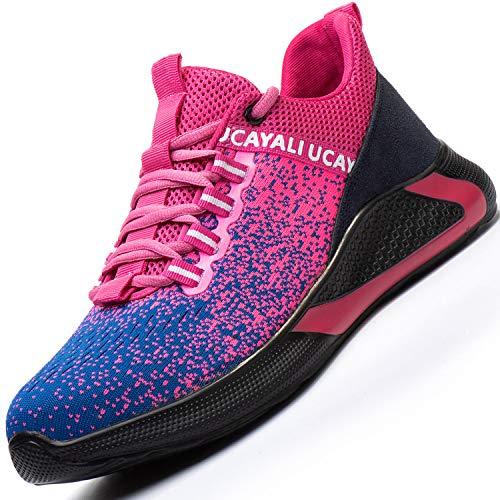 Ucayali Zapatos de Seguridad Mujer Trabajo Verano Zapatillas Trabajar Comodos Ligeros Transpirables Calzado de Seguridad Deportivo Punta de Acero(017 Rosa, 36 EU)