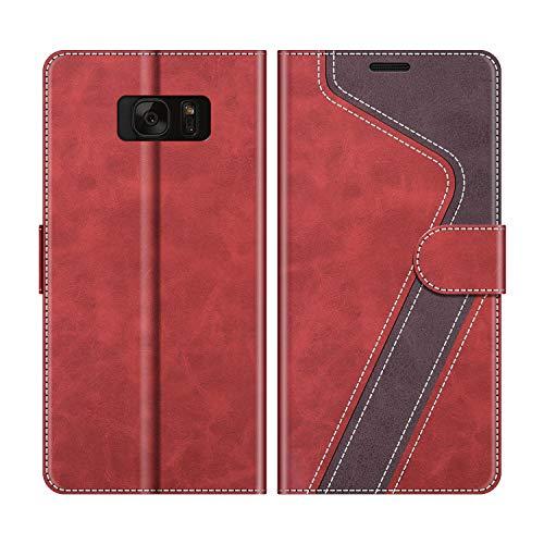 MOBESV Handyhülle für Samsung Galaxy S7 Hülle Leder, Samsung Galaxy S7 Klapphülle Handytasche Case für Samsung Galaxy S7 Handy Hüllen, Modisch Rot