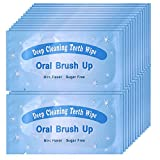 UNIQUE2U 100 pcs Textured Disposable Fresh Breath Deep Cleaning Teeth Wipes Finger Brush Teeth Wipes Oral Brush Finger Brush Ups Clean Pre/Post Whitening (100pcs)