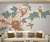 Papel Pintado 3D Mural Pájaro De Línea De Flor De Peonía De Estilo Chino Salón Dormitorio Despacho Pasillo Decoración 200x140cm