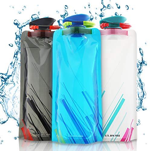 Faltbare Wasserflaschen, Set von 3 Flexible zusammenklappbare Trinkflasche Wiederverwendbare Wasser-Flaschen Trinkrucksäcke für das Wandern, Abenteuer, das Reisen, 700ML