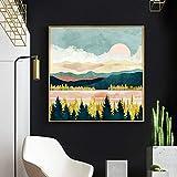 yhyxll Abstrakte goldene natürliche Landschaft Feldwald Sonne rosa Wolken Leinwand Bild Wandkunst...