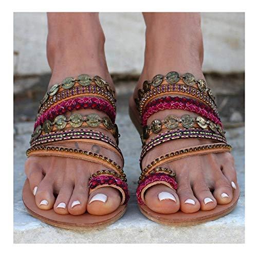 JUZIWEI Damen Sandalen Sommer Flache Unterseite Clip Toe Flip-Flop Schuhe Flache Sandalen Flache Elegant Böhmen Blumen Frau Geschenk,38