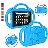 LTROP Fire HD 8 Tablet Case, Fire 8 2018 Case for Kids - Light Weight Shock Proof Handle Friendly Stand Child-Proof Case for Fire 8' HD Display Tablet Bumper Cover 2018/ 2017, Not for 2020 Fire HD 8 Tablet - Blue