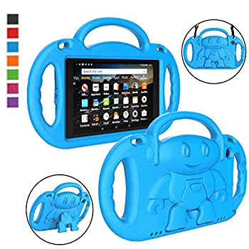 LTROP Fire HD 8 Tablet Case Fire 8 2018 Case for Kids - Light Weight Shock Proof Handle Friendly Stand Child-Proof Case for Fire 8  HD Display Tablet 2018/2017 Not for 2020 Fire HD 8 - Blue