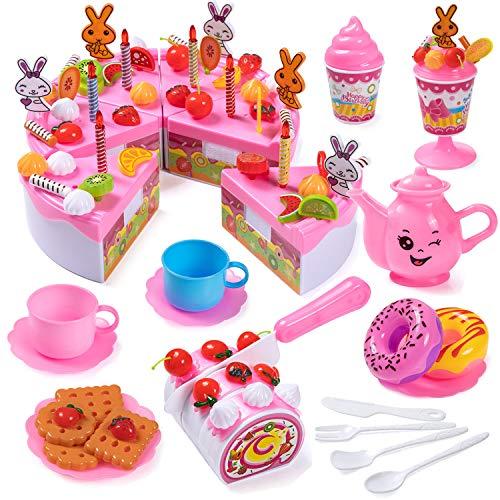 Czemo 99 Piezas Tarta Cumpleaños Juguete, Alimentos Juguete, Corte Pastel de Cumpleaños con Velas, Fruta, Helado, Galletas, Dulce y Chocolate para Niños