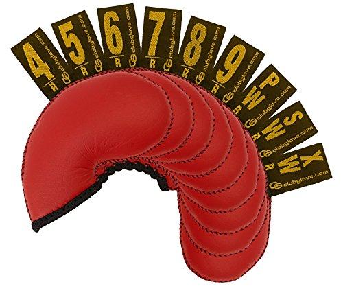 Club Glove, 9 protezioni per mazze da golf, regolari (4-PW, SW, XW), 9 Pc Set Reg Gloveskin Iron Cover Red, Red, Standard