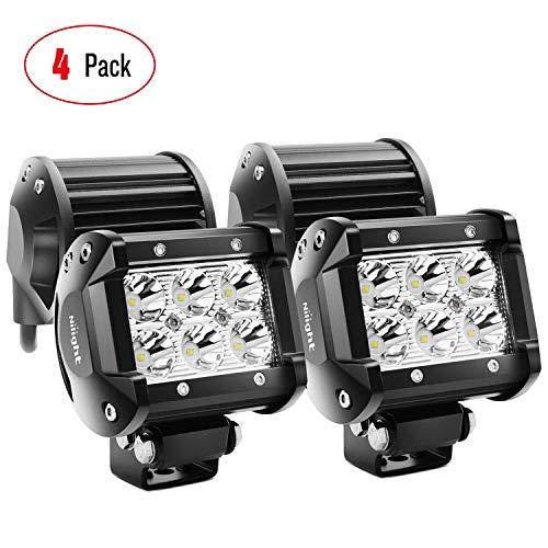 LED Light Bar Nilight 4PCS 18W 1260lm Spot led pods Driving Fog Light Off Road Lights Bar Jeep Lamp,2 years Warranty