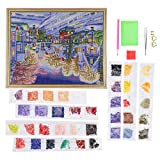 Zerodis Kits de Pintura de Diamantes 5D, luz LED Paisaje de la Ciudad Pintura de Diamantes Manualidades de Punto de Cruz Taladro Completo Pintura de Bordado de Diamantes con Marco para la decoración