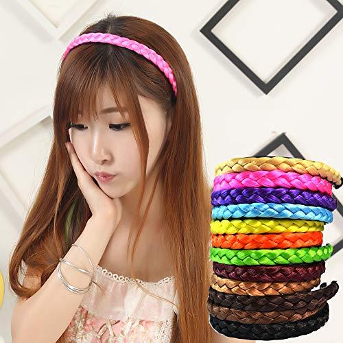 AchidistviQ Frauen Chemische Faser Haarband Synthetische Perücke Geflochtene Stirnband Headwear Haarband Verdreht Geflochtene Perücke Stirnband 13 Farben Gelb