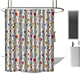 <span class='highlight'><span class='highlight'>TimBeve</span></span> Shower Curtain for Bathroom Watercolor,Floral Patterned Illustration with Leaves and Wildflowers Abstract Botanical,Multicolor,European Style Decoration Bathroom Curtains 54