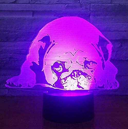 3D Illusion Lamp Pug Picture Acrylic Night Light 16 Colors Changing with Smart Touch and Remote Control Creative Table Lamp Perfect Gifts for Children