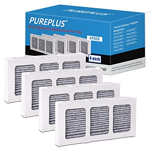 PUREPLUS Refrigerator Air Filter Replacement for Paultra2, Compatible with Pureair Ultra 2, Pure Air Ultra 2, Pureair Ultra ii, 242047805, 5303918847, PD00044143, PS12364179, EAP12364179, AP6285787, 4582822, 4 Pack