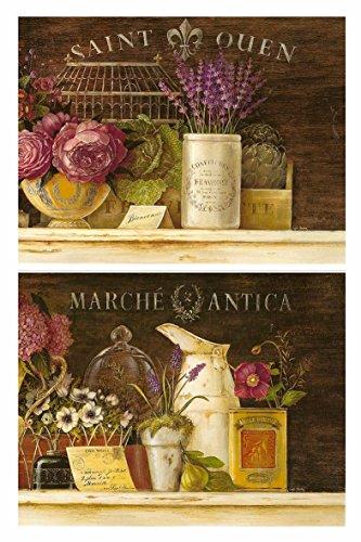 Cuadros de Madera de Flores Multicolor/Colorido Set de 2 Unidades de 19 cm x 25 cm x 4 mm unid. Adhesivo FÁCIL COLGADO. Adorno Decorativo. Decoración Pared hogar