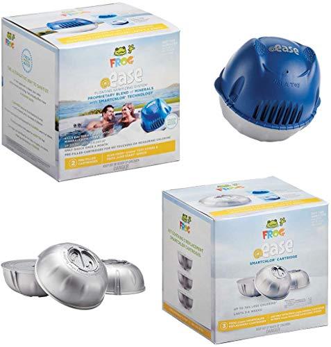 HotTubClub Frog @Ease Floating Sanitizing System for Tubs and Spas - Contains (@Ease SmartChlor Sanitizing System, @Ease SmartChlor 3pk Refill Kit, Floating ScumBug