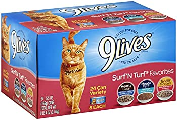 24-Pack 9Lives Surf 'N Turf Favorites Variety Pack, 5.5Oz Cans