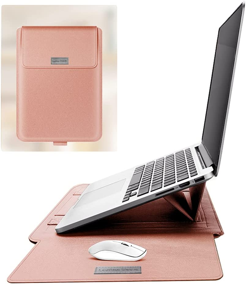 """Hyfant Laptop Sleeve Bag with Foldable Stand PU Leather Laptop Cover Case with Mouse Pad Portable Notebook Handbag for MacBook Air/Pro Dell Lenovo HP Asus Acer Samsung Chromebook 13"""" 14"""
