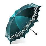 Paraguas Plegables Paraguas Parasol Parasol Damas de Vinilo Protector Solar Paraguas Anti-vibra B Paraguas de Doble Uso, Verde té