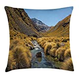 JIMSTRES Nature Throw Pillow Cushion Cover, River on Mountain Valley Rocky Hills Autumn Rural Creek Country Landscape, Decorative Square Accent Pillow Case, Apricot Blue Brown 22x22 inches