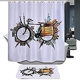 HarsonundJane Duschvorhang Wasserdichtes Polyester Digital-Printing Mit 12 Stück Haken Größe 180*180 Vintage Fahrrad