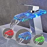 BONADE Grifo de Lavabo con Iluminación LED RGB para Baño, Cascada Monomando Mezclador Latón y Vidrio, Griferia Agua Fría y Agua Caliente