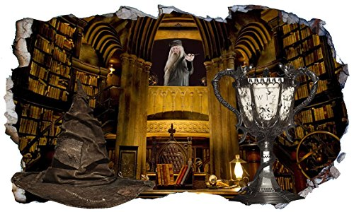 Chicbanners Harry Potter Hogwarts Professor Dumbledore Office Sorting Hat and Triwizards Cup Kelch of Fire 3D Magic Window Wandaufkleber, selbstklebend, Größe 1000 mm breit x 600 mm tief (groß) V1