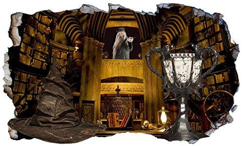 Harry Potter Hogwarts Professor Albus Dumbledore Büro Sortierender Hut und Triwizards Cup Fire 3D Magic Window V333 Wall Sticker Wall Sticker Wall Art Größe 1000 mm breit x 600 mm tief (groß) V1
