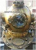 Nautical.Mart Taucherhelm, US-Kennzeichen V, vollberuhigter Stahl, Antik, 45,7cm, gelb