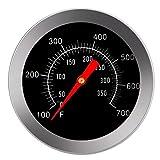 PB PEGGYBUY Jauge de température-Accessoires en acier inoxydable Grill Pit avec thermomètre Fahrenheit pour barbecue viande cuisson de Boeuf porc Agneau