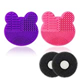 Chris.W 4 pcs Silicone Makeup Brush Cleaning Pad and Brush Drying Storage Stand Holder,Dry Makeup Brushes Cleaner Sponge Eye Shadow or Blush Color Removal