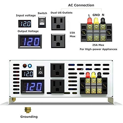 WZRELB DC to AC Converter Off Grid Pure Sine Wave Power Inverter Generator (3000w 12v 120v)