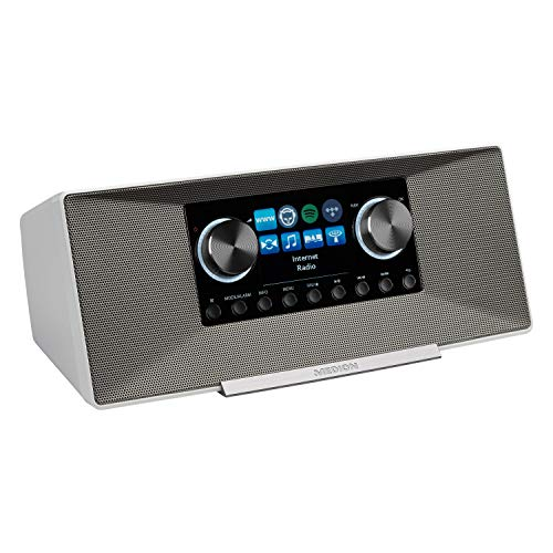 MEDION P85289 Internetradio mit DAB+ (WLAN, UKW, Spotify Connect, Amazon Music, DLNA, USB, Kopfhörer-Anschluss, AUX, LAN, Sleep Timer) White