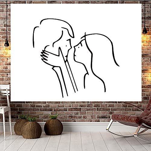 Tapestry Wall Hanging Decorations For Bedroom Home Decor Couple line abstract minimalist background cloth