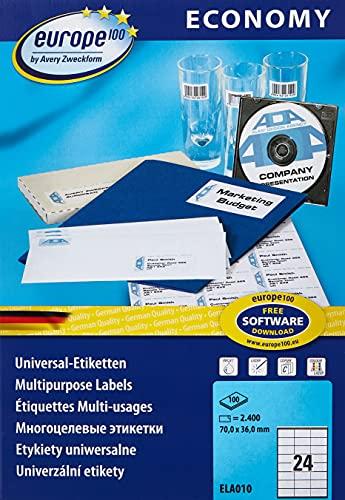 AVERY Zweckform europe100 ELA010 Universal  2.400 Klebeetiketten Bild