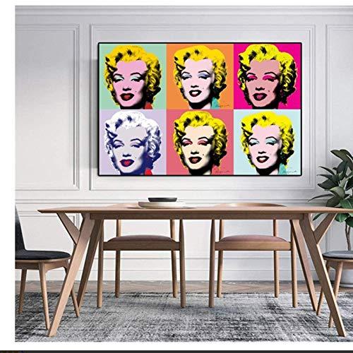 Cuadro de pared de arte en lienzo 60x80cm sin marco Famoso Marilyn Monroe Andy Warhol Cuadros de pared para sala de estar Cuadros Arte pop moderno Decorativo para el hogar