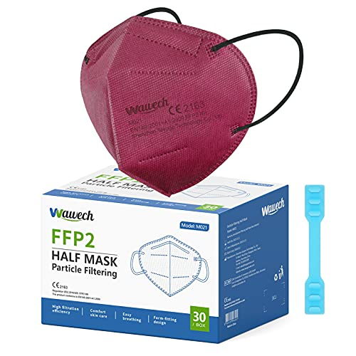 Wawech CE zertififizierte FFP2 Maske rot, 30 Stück einzeln verpackte Atemschutzmaske,Mund- und Nasenschutz Einwegmasken mit 5-lagiger Filterung