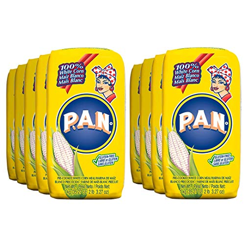 P.A.N. White Corn Meal – Pre-cooked Gluten Free and Kosher Flour for Arepas, 1 Kilogram (35 Ounces / 2 Pounds 3.3 Ounces) (Pack of 3)